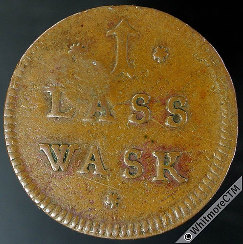 Sweden Token 24mm 1 Lass Wask / Crossed Hammers.   Countermarked 1682 - Copper