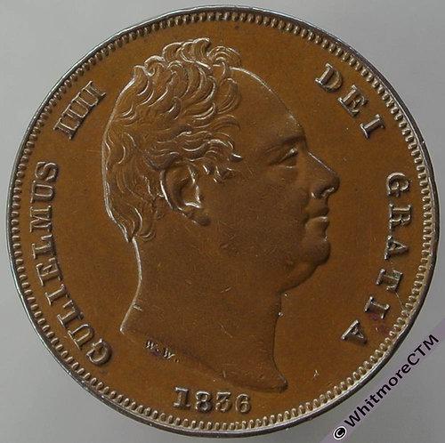 1836 British Copper Farthing raised line - William IV