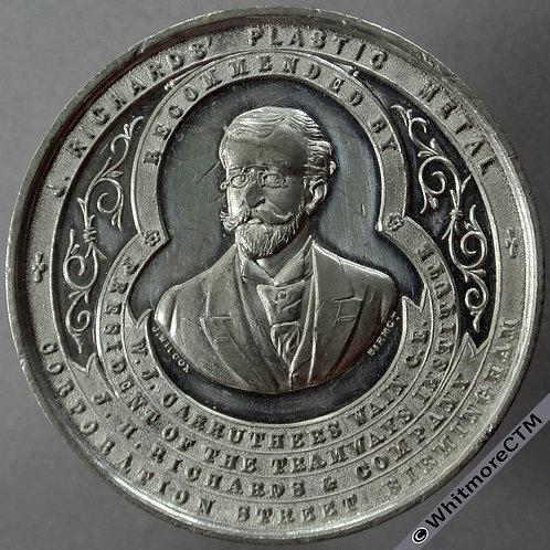 Birmingham J Richards Medal 45mm By J.Wilcox. White Metal