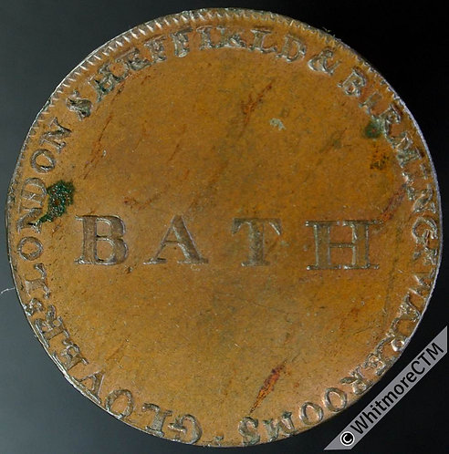 18th Century Halfpenny Token Bath 28 1794 Glovers Somersetshire Bank. 10% Luster
