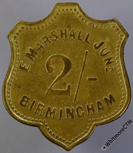 Market Token Birmingham 24x29mm W5550 2/- E. Marshall Junr - Shield shaped brass