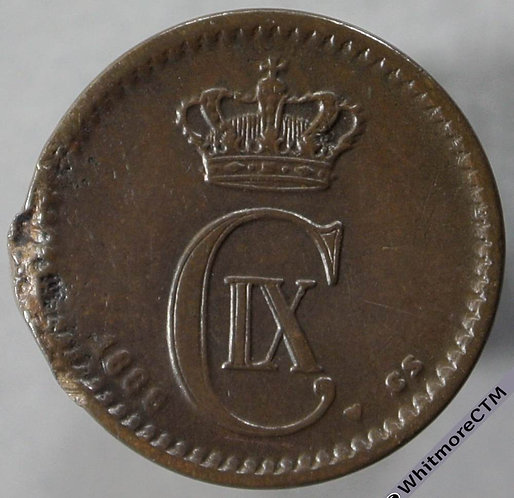 1888 Denmark 1 Ǿre obv - Rare. Edge damage