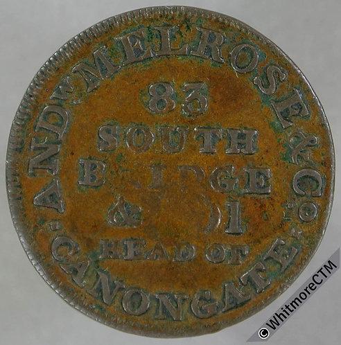 18th Century Farthing Token Edinburgh 102 A.Melrose South Bridge. Genuine Teas