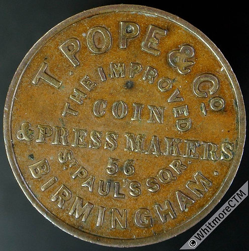 Unofficial Farthing Birmingham 820 T.Pope & Co...Coin & Press Makers (CP5)
