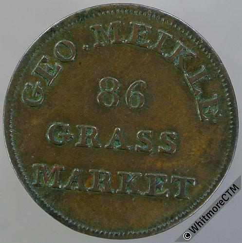 18th Century Farthing Edinburgh 100 Geo. Meikle 86 Grass Market - Rare