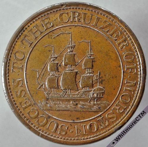 Morston (Norfolk) Inn / Pub Token 1817 Success to the Cruizer Ship - Very Rare