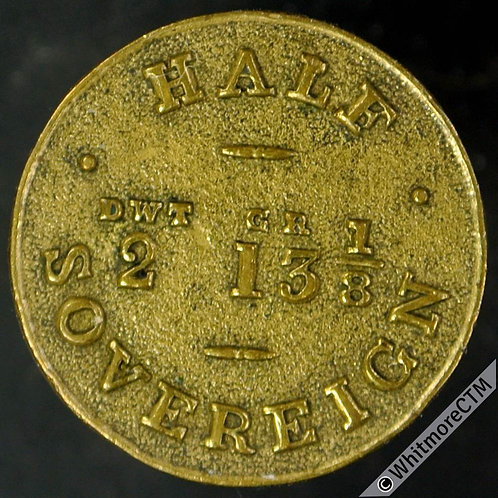 Coin Weight 19mm W2277b Half Sovereign Dwt Gr 2 13 1/8 (By J.Tongue) Very rare