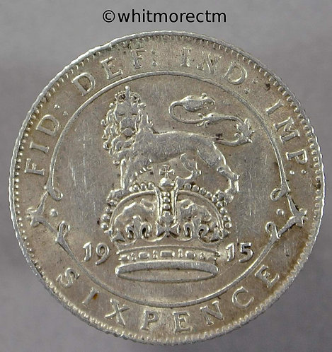1915 British Sixpence George V
