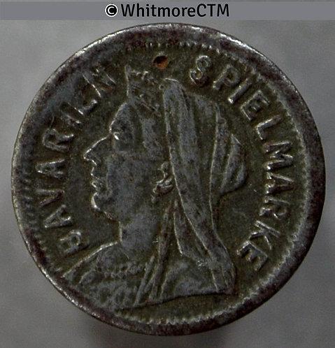 Toy Coin Bavarien Spielmarke Veiled 1897 Three Pence S over Veil 672