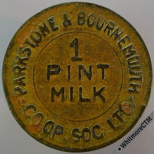 Co-Operative Society Token Parkstone & Bournemouth 26mm 1 pint milk. Brass