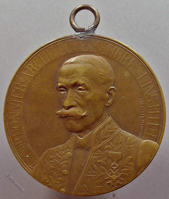 1912 France Louis Cordonnier Architect  Medallion 50mm By Hippolyte Lefebure