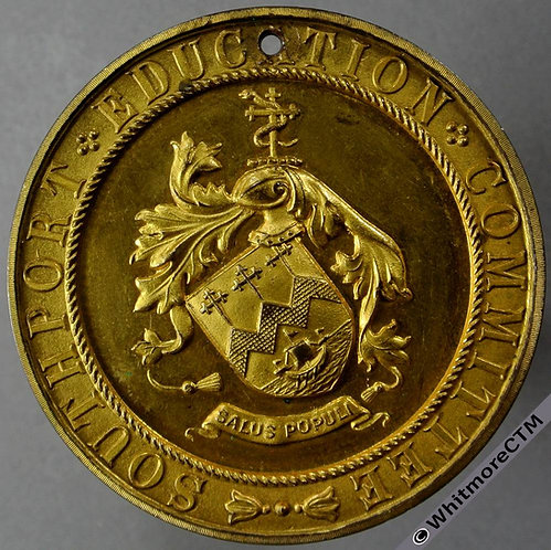 Southport 1911 Education Committee Attendance Medal 44mm D1957 Gilt bronze