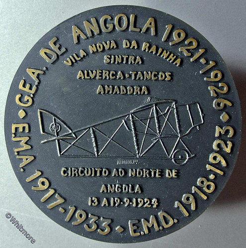 1933 Angola Portugal Caudron G3 Biplane Medal 79mm Boxed