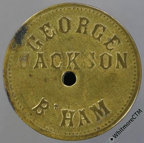 Market Token Birmingham 24mm W4707 1/- George Jackson - Brass. Central hole
