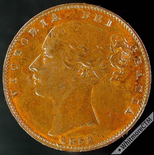 1858 British Bronze Farthing Victoria Bun Head