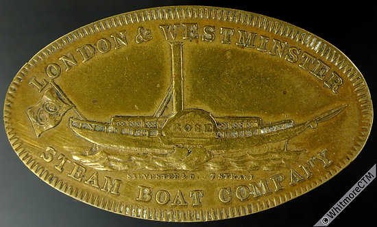 London & Westminster Steam Boat Co Token 43x25mm This reverse not in MG or Smith