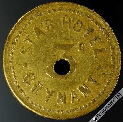 Inn / Pub Token Crynant Star Hotel 3D Uniface with central hole