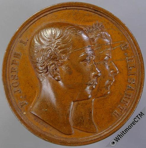 1854 Austria Marriage Franz Joseph & Elizabeth of Bavaria Medal 37mm By Seidan