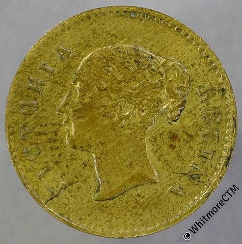 """Jetton 15mm Victoria Regina Y.H. / """"Wer Wagt Gewint"""" in wreath - Brass"""