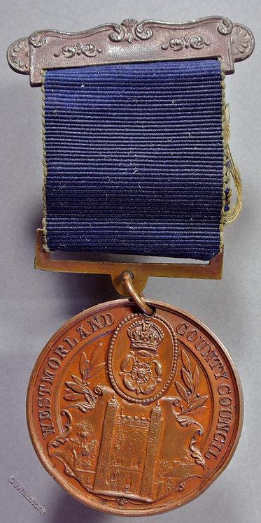 1905 Westmorland C.C. School Attendance Medal 38mm Edith I Ellwood D2651