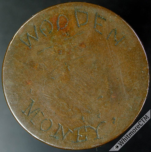 "Engraved Coin ""Wooden Money"" on Ireland George IV Penny"