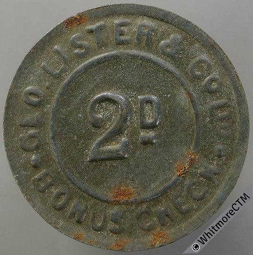 Geo. Lister & Co Ltd 2d Bonus Token 26mm Bracteate iron.