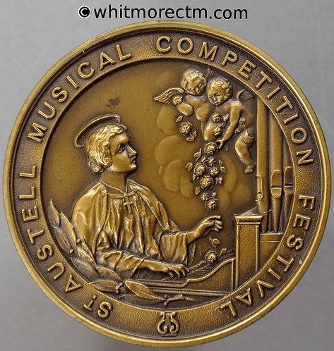 St Austell Musical Competition Festival Medal 41mm St Cecilia at keyboard Bronze