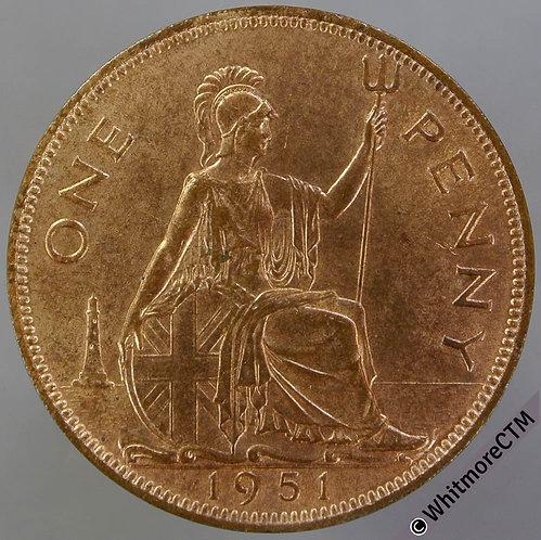 1951 British Bronze Penny George VI 90% Luster