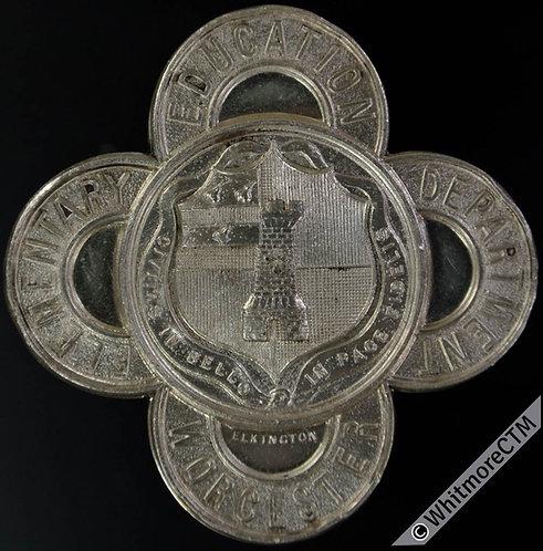 1912 Worcester 5 Year Attendance Medal 41mm D2740 By Elkington Quatrefoil Silver