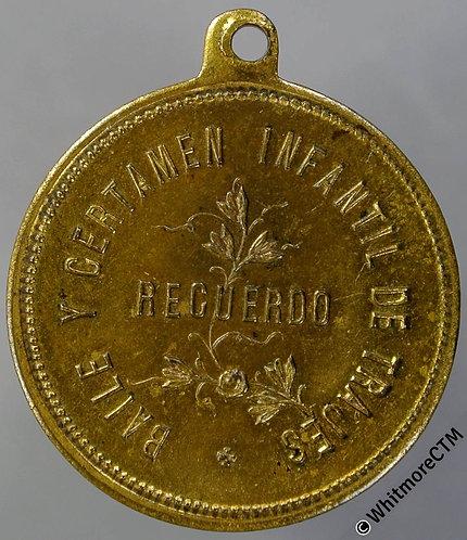 Spain Barcelona 1900 Carnival Francisco Aurigemma Medal 24mm Giltbronze