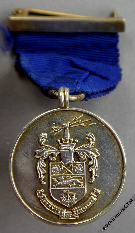 Stretford 1933 Charter Day Medal 26mm Silver with suspender, ring, ribbon & pin