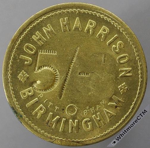 Birmingham Market Token 28mm John Harrison 5/- incuse. By Pitt. Not in Whitmore