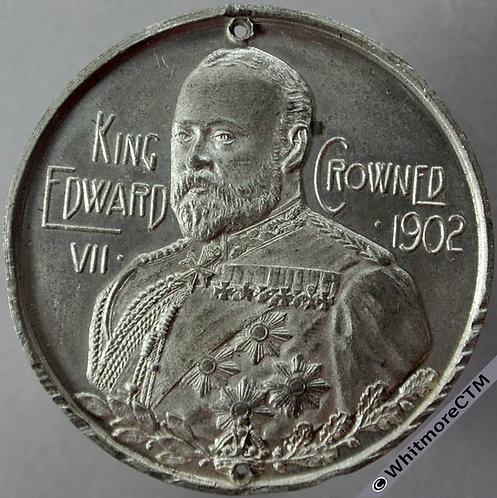 1902 Edward VII Coronation Medal obv 45mm BHM3838  White metal. Pierced twice