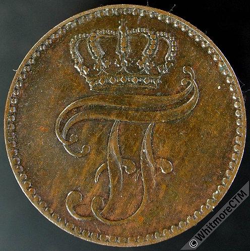 1864 Germany Mecklenburg-Schwerin C101a 3 Pfenninge