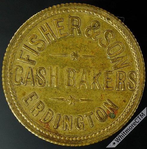 Bonus Token Erdington 26mm Fisher & Sons. Cash Bakers / £1 - Gilt brass
