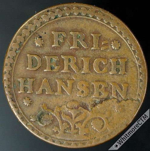 Sweden Token 22mm Friderich Hansen / 1 Stigh Skatt Kohl - Copper