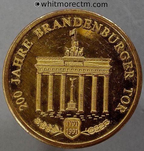 1991 Germany Berlin Bicentenary of Brandenburg Gate Medal 30mm Gilt Brass