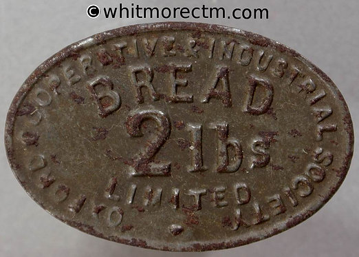 Oxford Industrial Co-Operative Society Token 37x24mm Bread 2lbs - bracteate iron