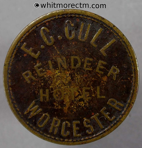 Worcester Inn / Pub Token W6580 Reindeer Hotel As Dur5-6 with Durning erased