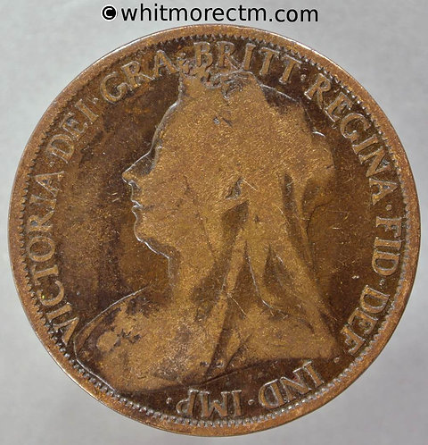 "1895 British Bronze Penny Victoria Old Head F139 1+A ""2mm"" Rare"