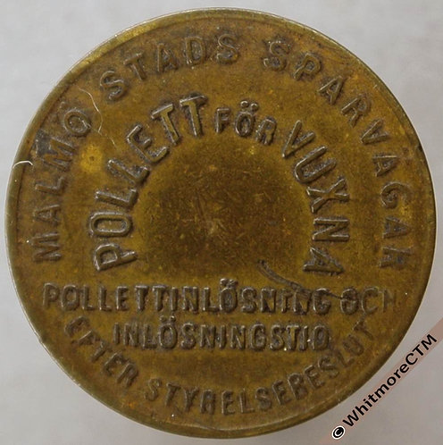 Sweden Malmo Transport Token 19mm Stads Spårvägar Pollett For Vuxna