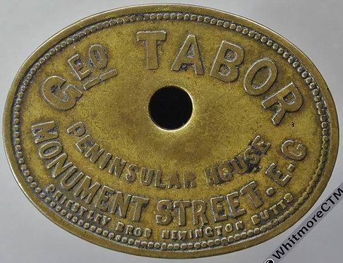 London Market Token Geo. Tabor Peninsular House 40x30mm Oval brass By Priestley