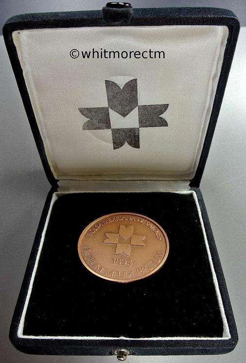 1990 Mexico Centro Bursal-View of Skyscraper medal in case 50mm