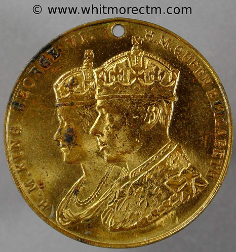 Romsey Hampshire 1937 Coronation Medal obv 32mm WE7036N By Fattorini - Gilt Bronze
