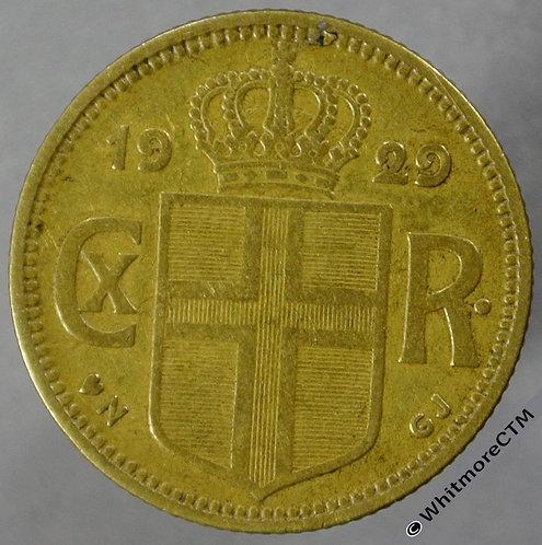 1929 Iceland 1 Krona Y6 obv