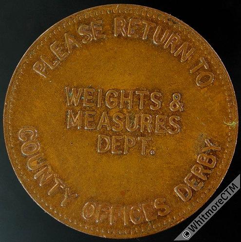 Derbyshire Token 31mm weights & measures dept  - Bronze 20% Luster
