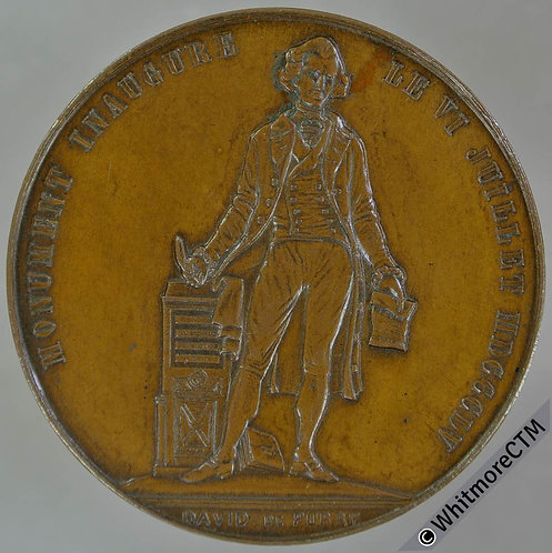 Switzerland Neuchâtelois 1855 Inauguration David De Purry Pury Statue Medal 37mm