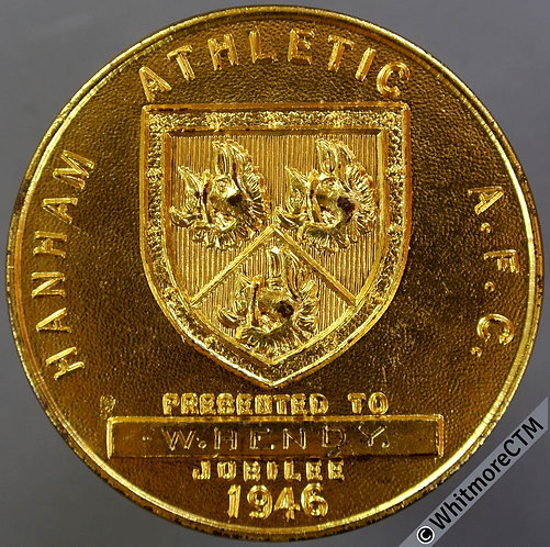 1946 Hanham Athletic AFC Golden Jubilee Medal 45mm List of Trophies. Gilt bronze