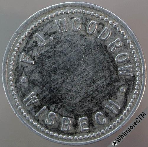 Value Stated Token Wisbech 26mm F. J. Woodrow 1/- Aluminium