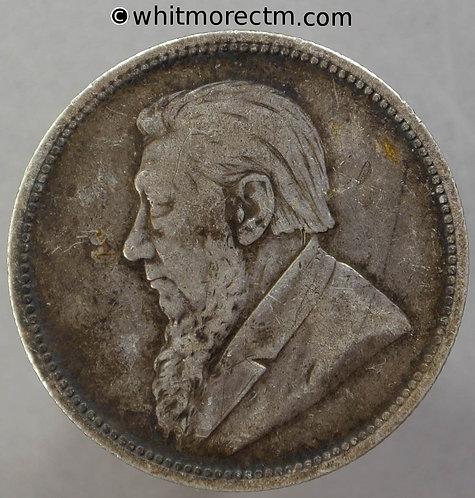 1894 South Africa Kruger 2 Shillings coin obv